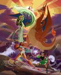 arm_cannon battle boxing_gloves charizard cross-laced_footwear fire hat link little_mac metroid mountain pokemon power_armor punch-out!! samus_aran shield sunset super_smash_bros. sword the_legend_of_zelda toon_link toxodentrail weapon wings