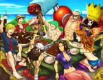 2girls 6+boys abs arm_support arm_up barefoot belt bikini_top black_hair blonde_hair blue_eyes blue_hair blue_sky blush blush_stickers bottle bracelet breasts brook brown_hair center_opening cigarette cleavage closed_eyes clouds cloudy_sky cola collarbone crop_top crown cyborg earrings eating feet food franky glass glasses glasses_on_head gold green_hair hair_slicked_back hat headphones holding horns jewelry long_hair looking_back looking_up meat midriff monkey_d_luffy multiple_boys multiple_girls muscle nami_(one_piece) navel nico_robin no_bra ocean one_eye_closed one_piece open_clothes open_mouth open_shirt orange_hair outdoors outstretched_arm overalls pillow pink_skirt red_shirt reindeer rice roronoa_zoro sanji sarong scar shiny shiny_clothes shiny_hair shirt short_hair shorts sitting skeleton skirt sky slingshot smile soles stew straw_hat sunglasses sunglasses_on_head t-shirt table tattoo toes tony_tony_chopper under_boob unzipped usopp water wristband zipper
