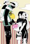 birthday_cake blush bouquet cake flower food half_mask haruno_sakura hatake_kakashi monochrome naruto piggyback uchiha_sasuke uzumaki_naruto
