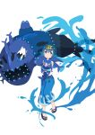 1girl absurdres animal aoi_thomas blue_eyes blue_hair blue_pants bright_pupils commentary_request drawstring flip-flops hairband highres holding_animal holding_to_chest pants pokemon pokemon_(creature) pokemon_(game) pokemon_sm popplio sandals short_hair sleeveless smile suiren_(pokemon) water wishiwashi