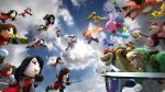 akb48 arm_cannon battle bowser capcom charizard clouds cloudy_sky crossover donkey_kong donkey_kong_(series) epic greninja kirby kirby_(series) link luigi mario metroid mii_(nintendo) nintendo olimar pikachu pikmin pikmin_(creature) pokemon red_pikmin rockman rockman_(character) rosetta_(mario) samus_aran screencap shield sky super_mario_bros. super_mario_galaxy super_smash_bros. sword the_legend_of_zelda weapon