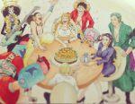 22nikki black_hair blonde_hair blue_hair brook franky green_hair highres long_hair monkey_d_luffy nami_(one_piece) nico_robin one_piece orange_hair roronoa_zoro sanji skeleton table tony_tony_chopper usopp