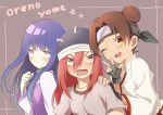 3girls bitou blush brown_hair chinese_clothes double_bun fang female fingerless_gloves gloves hat headband hyuuga_hinata long_hair looking_at_viewer multiple_girls naruto pink_hair purple_hair tayuya tenten v