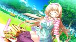 1girl bench blonde_hair closed_eyes food game_cg julia_lin_road long_hair magical_marriage_lunatics!! park picnic picnic_basket solo thermos thigh-highs tree twintails yamakaze_ran