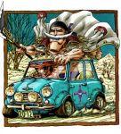2boys bandanna car edward_newgate ground_vehicle halberd hat jolly_roger mini_cooper motor_vehicle multiple_boys one_piece polearm portgas_d_ace s_h_a_m_o smile vehicle weapon whitebeard_pirates