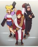 1girl 2boys blonde_hair brother_and_sister brothers character_name crossed_arms facepaint facial_mark fan fingerless_gloves fishnet_shirt forehead_protector gaara gloves gourd hand_on_hip hat kankuro layered_clothes multiple_boys naruto quad_tails quadtails redhead sandals sash shueisha siblings skirt teeth temari trio