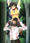 1boy 1girl arms_up asphyxiation asuka_(senran_kagura) black_hair black_legwear blush breasts brown_eyes choking clenched_teeth forest headlock highres large_breasts legs long_hair looking_down nature ponytail scarf school_uniform senran_kagura senran_kagura_(series) shoes short_hair smile standing submission_hold sword teeth thighs torn_clothes tree weapon wrestling yadokari_genpachirou