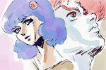 1boy 1girl blue_hair cosmo_yuki densetsu_kyojin_ideon kitty_kitten redhead