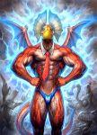 ass beak capcom congalala ears monster monster_hunter muscle nariann necktie qurupeco swim_briefs swimsuit tail tigrex wings yian_kut-ku