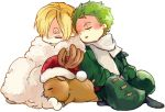 2boys antlers blanket blonde_hair boots chibi christmas closed_eyes earrings green_hair hair_over_one_eye hat indian_style jacket jewelry multiple_boys one_piece reindeer robe roronoa_zoro sanji santa_hat scar scarf sitting sleeping tony_tony_chopper trio