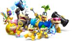 1girl 6+boys absurdres blue_eyes blue_hair bow bracelet brother_and_sister brothers cannon fangs fire glasses green_hair hammer highres iggy_koopa jewelry larry_koopa lemmy_koopa lips looking_at_viewer ludwig_von_koopa mario_(series) morton_koopa_jr. multiple_boys official_art rainbow_hair roy_koopa siblings sunglasses super_mario_bros. wand wendy_o._koopa