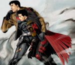2boys bat_(symbol) batman_(series) belt black_hair brothers cape carrying dc_comics family gloves holster jacket jason_todd jiro leaning multiple_boys red_hood_(dc) red_robin rubble siblings tim_drake torn_clothes