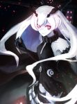 1girl anchorage_oni bags_under_eyes collar commentary_request dress elbow_gloves embers gloves grin halter_dress horns kantai_collection long_hair looking_at_viewer no_eyebrows red_eyes shinkaisei-kan smile solo torn_clothes torn_dress weasel_(close-to-the-edge) white_hair white_skin