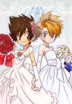 2boys blonde_hair blue_eyes blush bouquet bow bridal_gauntlets bridal_veil brown_eyes brown_hair choker crossdressing digimon dress flower gloves hair_flower hair_ornament hand_holding ishida_yamato jewelry male_focus multiple_boys necklace pixiv_manga_sample short_hair smile tiara veil wedding_dress yagami_taichi