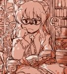 1girl book cheadle_yorkshire dress female glasses hat hunter_x_hunter indoors mob_cap monochrome reading solo
