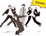 5boys arisato_minato artist_request kurusu_akira multiple_boys narukami_yuu persona persona_1 persona_2 persona_3 persona_4 persona_5 pose protagonist_(persona_5) suou_tatsuya toudou_naoya white_background yuuki_makoto