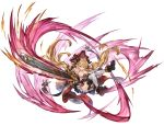 >:) 1girl ankle_boots bare_shoulders black_boots blonde_hair blue_eyes boots breasts chainsaw crazy_eyes crazy_smile cross-laced_footwear doraf empty_eyes full_body granblue_fantasy grin hair_ornament hairclip hallessena hat holding horns knees_together_feet_apart lace-up_boots long_hair looking_at_viewer low_twintails medium_breasts minaba_hideo miniskirt official_art over-kneehighs plaid plaid_skirt pointy_ears red_skirt simple_background skirt smile solo thigh-highs transparent_background twintails under_boob underbust white_legwear