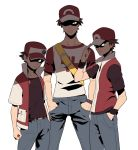 3boys adjusting_clothes adjusting_hat age_progression bag baseball_cap belt brown_hair comparison denim hands_in_pockets hat height_difference highres holding holding_poke_ball jeans looking_at_viewer male_focus multiple_boys multiple_persona pants poke_ball pokemon pokemon_(game) pokemon_frlg pokemon_sm red_(pokemon) red_(pokemon)_(classic) red_(pokemon)_(remake) red_(pokemon)_(sm) redlhzz shaded_face shirt short_sleeves shoulder_bag t-shirt white_background wristband z-ring
