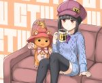 alternate_costume androgynous arm_support black_hair black_legwear cabbie_hat coffee_mug couch crossover dress emil_chronicle_online hat highres jewelry magatama pendant puzzle_&_dragons red_eyes sidelocks sitting star stuffed_animal stuffed_toy sweater sweater_dress teddy_bear thigh-highs tiny_(p&d) waving wizard_hat yomi_(p&d) yosaku_(y00o13o)