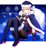 1girl absurdres aqua_eyes black_gloves black_legwear blonde_hair blue_boots blue_dress blue_hair boots breasts christmas dress fate/grand_order fate/stay_night fate_(series) fuyuki_(neigedhiver) gloves hat highres long_hair looking_at_viewer merry_christmas pantyhose red_hat ribbon saber saber_alter santa_hat short_hair small_breasts smile snowflakes solo striped striped_ribbon thigh-highs thigh_boots upper_body yellow_eyes