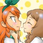 2girls blush bow brown_hair closed_eyes hair_bow heart inazuma_eleven_(series) inazuma_eleven_go long_hair lowres multiple_girls ohshioyou orange_hair seto_midori sweat upper_body yamana_akane yuri