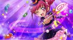 1girl ;d candy halloween highres hoshizora_miyuki kawamura_toshie lollipop official_art one_eye_closed open_mouth photoshop pink_eyes pink_hair precure short_hair smile smile_precure! solo twintails