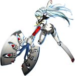 1girl android aqua_hair atlus axe battle_axe blue_hair dark_persona full_body headphones highres knee_pads labrys long_hair megami_tensei miniskirt persona persona_4 persona_4:_the_ultimate_in_mayonaka_arena persona_4:_the_ultimax_ultra_suplex_hold pleated_skirt ponytail robot_joints school_uniform shadow_(persona) shin_megami_tensei skirt soejima_shigenori solo transparent_background very_long_hair weapon yellow_eyes