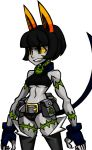 1girl alex_ahad alternate_color angry animal_ears bare_shoulders bell bell_collar belt belt_pouch black_hair bob_cut breasts buckle buttons cat_ears cat_tail claws clenched_teeth collar cowboy_shot crop_top fang female fingerless_gloves fingernails gloves green_eyes grey_skin grin homestuck jewelry midriff ms._fortune_(skullgirls) necklace nepeta_leijon official_art pale_skin pendant photoshop pocket scar sharp_fingernails short_hair short_shorts shorts skullgirls smile solo tail tattoo teeth transparent_background under_boob yellow_sclera