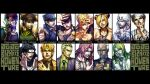 1girl 6+boys black_background black_hair blonde_hair blue_lipstick clenched_teeth column_lineup copyright_name cross dark_skin dark_skinned_male diavolo dio_brando dixie_cup_hat double_bun english enrico_pucci everyone eyelashes fabulous fingerless_gloves formal funny_valentine giorno_giovanna gloves green_hair green_lipstick grin hair_ornament hairband happy hat heart higashikata_jousuke higashikata_jousuke_(jojolion) irohara_mitabi johnny_joestar jojo_no_kimyou_na_bouken jojo_pose jojolion jonathan_joestar joseph_joestar_(young) kars_(jojo) kira_yoshikage kuujou_jolyne kuujou_joutarou lips lipstick long_hair looking_at_viewer makeup military_hat multiple_boys necktie open_mouth pink_hair pointing pompadour portrait pose priest short_hair simple_background smile source_request star star_print steel_ball_run suit teeth two-tone_hair very_short_hair wavy_hair white_background white_hair