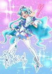 1girl blue_eyes blue_hair blush cure_marine hair_ornament heartcatch_precure! kurumi_erika long_hair magical_girl open_mouth precure skirt smile solo thigh-highs v very_long_hair zettai_ryouiki
