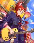 1girl architecture blue_eyes brown_hair cherry_blossoms clouds dutch_angle east_asian_architecture electric_guitar female guitar guitar_case idolmaster idolmaster_million_live! instrument instrument_case japanese_clothes jpeg_artifacts julia_(idolmaster) kawakami_tetsuya lipstick makeup mouth_hold official_art pagoda petals sayagata short_hair sky solo star