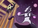 arceus commentary_request epic floating glowing glowing_eyes habatakuhituji mewtwo moon night night_sky no_humans pillar pokemon red_eyes showdown sky star_(sky) starry_sky tail tower violet_eyes