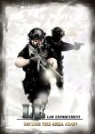2boys absurdres aimpoint assault_rifle casing_ejection english flashlight goggles gun handgun helmet highres knee_pads load_bearing_vest m1911 m4_carbine multiple_boys original poster rifle shell_casing taka_(iawas) weapon