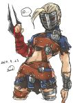 1girl absurdres ahoge alternate_costume arm_blade asymmetrical_clothes blonde_hair chains cropped_legs decapre highres huge_ahoge lock man_in_the_iron_mask mask medieval multiple_belts padlock parody pteruges red_eyes samidare_satsuki skirt solo street_fighter street_fighter_iv_(series) ultra_street_fighter_iv weapon