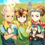 4boys arm_around_shoulder bird blue_hair brown_eyes brown_hair cape dark_skin endou_mamoru eyepatch goalkeeper goggles goggles_on_head gouenji_shuuya grin hairlocs headband inazuma_eleven inazuma_eleven_(series) inazuma_japan junekun kidou_yuuto lens_flare lightning_bolt long_hair looking_at_viewer male_focus multiple_boys no_gloves penguin saliva short_hair smile soccer_uniform sportswear v