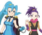 2girls anzu_(pokemon) aqua_hair cape chains clothed_navel cuffs gym_leader handcuffs ibuki_(pokemon) multiple_girls navel pokemon skin_tight two_side_up