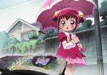 1girl :o blush dress female hoshizora_miyuki kawamura_toshie nature nico_(smile_precure!) official_art outdoors pink_dress pink_eyes pink_hair plant precure rain short_hair sky smile_precure! solo solo_focus umbrella younger