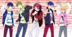 5boys black_hair blonde_hair blue_eyes blue_hair brown_hair free! glasses green_eyes hazuki_nagisa jacket letterman_jacket male_focus matsuoka_rin multiple_boys nanase_haruka_(free!) red-framed_eyewear red-framed_glasses red_eyes redhead ryuugazaki_rei tachibana_makoto violet_eyes