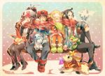 10s 2boys 2girls baseball_cap bel_(pokemon) black_hair black_legwear blonde_hair blue_eyes brown_eyes brown_hair cheren_(pokemon) closed_eyes cubchoo deerling earmuffs glasses hat legwear_under_shorts litwick multiple_boys multiple_girls naru_(andante) orange_legwear oshawott pantyhose pokemon pokemon_(game) pokemon_bw scarf shared_scarf shorts snivy snow tepig touko_(pokemon) touya_(pokemon) vanillite victini winter_clothes