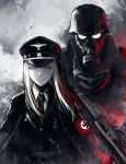 1girl androgynous armband belt blonde_hair gas_mask gun hat helmet hetza_(hellshock) iron_cross long_hair machine_gun mg42 military military_hat military_uniform nazi necktie original peaked_cap reichsadler skull smile swastika totenkopf uniform waffen-ss weapon