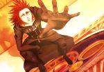 1boy a5_arashi axel axel_(kingdom_hearts) cloak disney facial_mark gloves green_eyes highres kingdom_hearts male_focus reaching_out redhead sitting solo square_enix