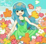 10s 1girl 2012 bangs blue_eyes blue_hair blunt_bangs collarbone dated dress flower furude_rika higurashi_no_naku_koro_ni long_hair nuancho smile solo sundress teruteru very_long_hair