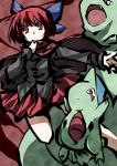 1girl bow capelet cloak crossover fang hair_bow hemogurobin_a1c knees larvitar legs looking_at_viewer nintendo open_mouth outstretched_arm pokemon red_eyes redhead sekibanki skirt touhou tyranitar
