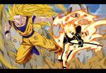 2boys blonde_hair crossover dragon_ball dragon_ball_z dragonball_z electricity long_hair multiple_boys muscle naruto naruto_shippuuden short_hair son_gokuu spiky_hair super_saiyan_3 uzumaki_naruto uzumaki_naruto_(kyuubi_chakra_mode)