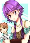 1boy 1girl artur bare_shoulders black_eyes book collarbone fire_emblem fire_emblem:_seima_no_kouseki jewelry kariu long_hair lute_(fire_emblem) necklace open_mouth orange_hair purple_hair short_hair turtleneck twintails violet_eyes