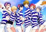 6+boys blonde_hair blue_eyes blue_hair blush brown_hair closed_eyes cutoffs everyone fang flower free! glasses hair_flower hair_ornament hat hazuki_nagisa hug hug_from_behind male_focus matsuoka_rin multiple_boys nanase_haruka_(free!) nitori_aiichirou one_eye_closed open_mouth red_eyes ryuugazaki_rei shirt short_hair shorts smile straw_hat striped striped_shirt sunflower tachibana_makoto v violet_eyes wink