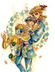 3boys 710suityouken black_hair blonde_hair blue_eyes braid child dual_persona giorno_giovanna gold_experience jojo_no_kimyou_na_bouken ladybug male_focus multiple_boys older stand_(jojo) traditional_media vento_aureo watercolor_(medium) younger