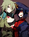 2girls :d asymmetrical_docking breast_press breasts brown_background emblem evil_smile fangs garchomp green_hair grey_eyes hair_over_one_eye hat large_breasts long_hair looking_at_viewer merlusa multiple_girls open_mouth parted_lips personification pokemon scar shaded_face simple_background smile smirk symmetrical_docking tyranitar upper_body yellow_eyes
