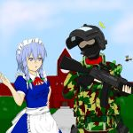 1boy 2girls ak-74 armor assault_rifle blonde_hair broom door flying gloves gun hair_ribbon hat helmet izayoi_sakuya kirisame_marisa koumakan_keibihei long_hair maid male_focus mansion mask military military_uniform multiple_girls open_mouth ribbon rifle russian short_hair silver_hair sky soldier touhou uniform weapon witch witch_hat