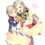 2girls apron arataka_(aramaru) ass bad_id bangs barefoot blush breasts child dirty dual_persona ear_protection gloves hair_ornament hairclip headset interlocked_fingers metal_gear_(series) metal_gear_rising:_revengeance metal_gear_solid metal_gear_solid_4 multiple_girls no_pants open_mouth panties parted_bangs plaid plaid_panties red_eyes short_hair silver_hair small_breasts smile striped striped_panties sunny_gurlukovich tank_top time_paradox translation_request underwear